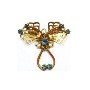 Vintage Antique Butterfly Flower Design Brooch Pin